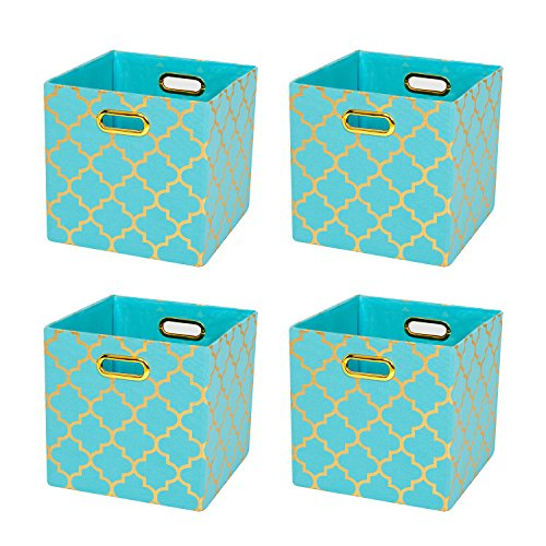 Posprica Collapsible Canvas Storage Bin Organizer Basket with Metal Handles for Toy Organizer,Pet Toy Storing (4, Green lantern print) (Print Toy)