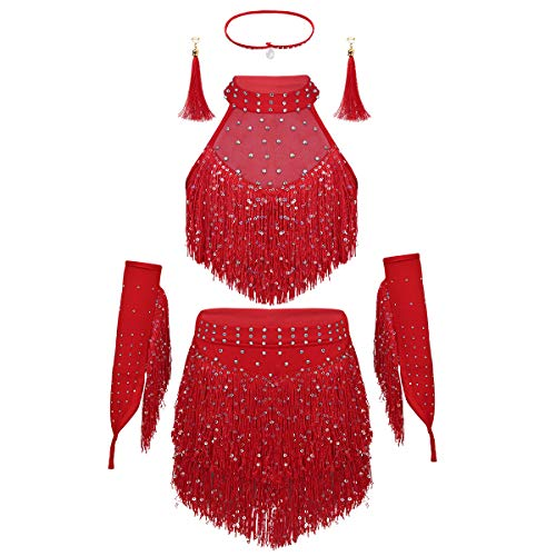 moily Girls Sequins Tassel Latin Salsa Tango Belly Dance Dress Stage Performance Top with Skirts Set Red 3-4 Years