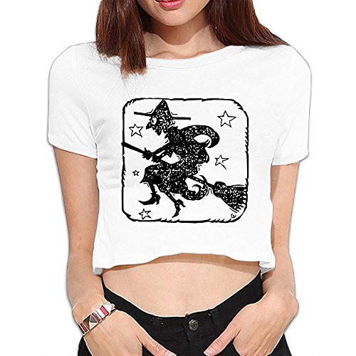 CAAK Women's Black Witch Halloween Stamp Cropped Tops ()