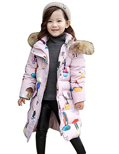 Menschwear Girl's Down Fur Hooded Jacket Winter Warm Outwear Winter Coat (140,Pink) by Menschwear