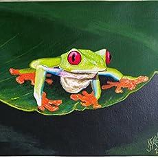 Pintura en óleo - Rana verde ojos rojos