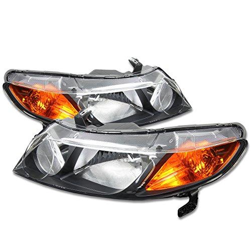 For Honda Civic Sedan Pair of Black Housing Amber Corner Headlight - 8th Gen ()