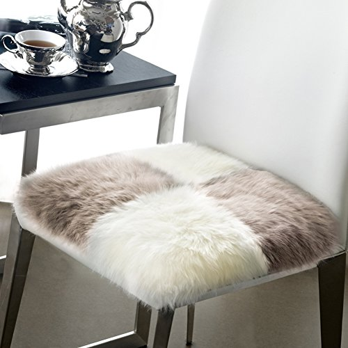 Noahas Faux Fur Sheepskin Silky Seat Cushion, Home Decor Long Wool Area Rugs Carpet, Soft Fluffy Plush Chair Seat Pads Universal Fit for Home Office Restaurant Chair (16'' x 16'', Style-2) by Noahas
