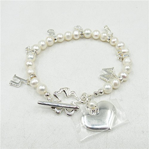 European and American trade jewelry popular wild section exquisite natural cultured pearl bracelet female silver pendant ly four-leaf clover ()