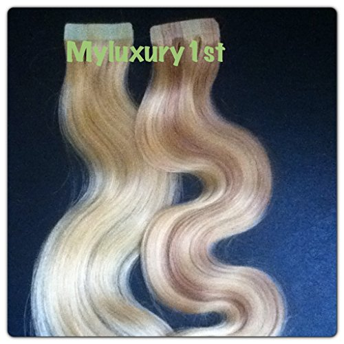 10 Pieces Remy Fusion Tape in Body Wavy Human Hair Extensions Bleach Blond and 16/613 Ash Blonde with Blonde Highlights