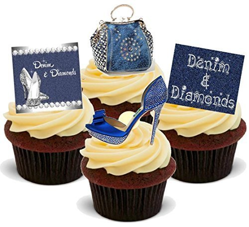 DENIM & DIAMONDS SHOES & HANDBAG LADIES NIGHT PARTY BIRTHDAY MIX - Fun Novelty PREMIUM STAND UP Edible Wafer Paper Cake Toppers Decoration]()