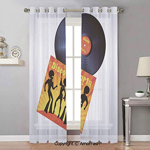 1970s Sheer Semi - AmorFash 70s Party Semi Sheer Curtains Room Thermal Insulated Curtain Panels Grommet for Living Room,42x90 Inch Vinyl Record Cover with Disco Party Illustration Dancers Music Art Print