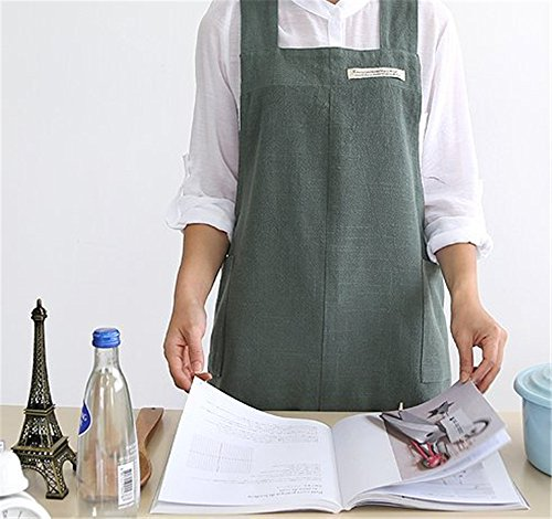 Katoot@ New Cozymom Gift Japanese Style X Shape Smock Natural Cotton Apron (Style Apron)