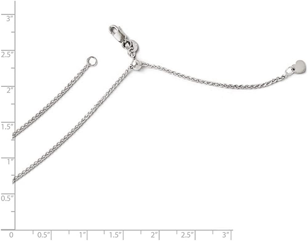 Wheat Link Bracelet 14K White Gold 1.40MM Diamond-Cut Spiga 6 inches