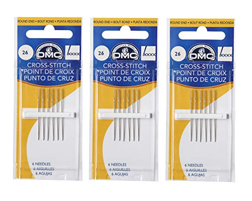- DMC 3 Pack Size 26 Cross Stitch Needles (Total 18 Needles)