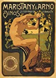 """MARISTANY ARNO BARCELONA VINOS SPANISH WINE NUDE MAN SQUEEZING GRAPES SPAIN 16"""" X 24"""" IMAGE SIZE VINTAGE POSTER REPRO"""