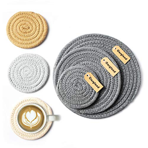(Cosyland Place mats Set Table Mats Round Coasters Anti-skip Washable Cotton Placemat 1 Set of 6 pcs Dinner Kitchen BBQ Tea Everyday)
