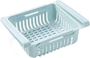 Fridge Storage Organizer Creative Fridge Layer Storage Rack Refrigerator Partition Sliding Drawer Food Crisper Holder Fresh-keeping Layered Organizers Drawer (blue)