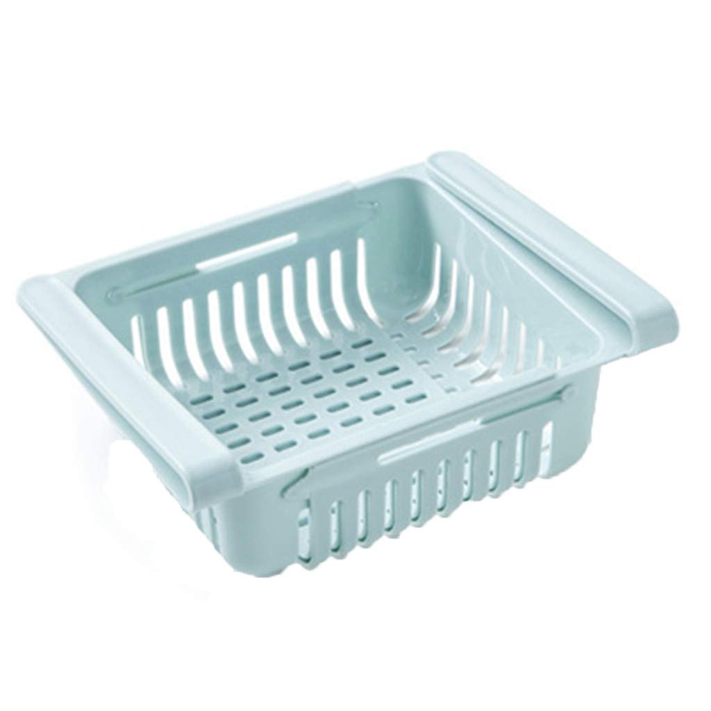 Refrigerator Storage Box Fridge Sliding Drawer Food Container for Storage Egg/Vegetable/Fruit (Blue)