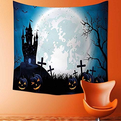 Printsonne Decor Tapestry Wall Hanging by Spooky Concept with Halloween Icons Old Celtic Harvest Festival Figures in Dark Image Home Decoration Wall Tapestry Hanging ()