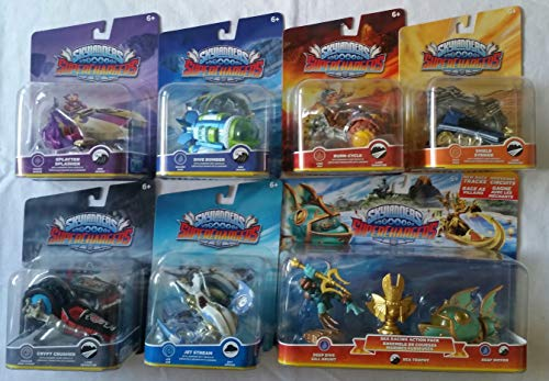 Skylanders SuperChargers 7 Pack Vehicle Starter Bundle! 7 Vehicles, 1 Trophy, 1 Character: Crypt Crusher, Dive Bomber, Jet Stream, Splatter Splasher, Shield Striker, Burn-Cycle , and Sea Racing Pack]()