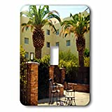 3dRose Jos Fauxtographee- Palms at Hotel - A hotel in Mesquite Nevada with palm trees and chairs - Light Switch Covers - single toggle switch (lsp_273463_1)