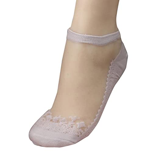 VJGOAL Mujeres de moda casual color sólido Ultrafino Transparente Hermosa Crystal Lace elástico calcetines cortos(Un tamaño, Azul claro): Amazon.es: Ropa y ...