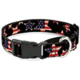Buckle-Down Americana Stars & Flags Black/Red/White/Blue Martingale Dog Collar, 1