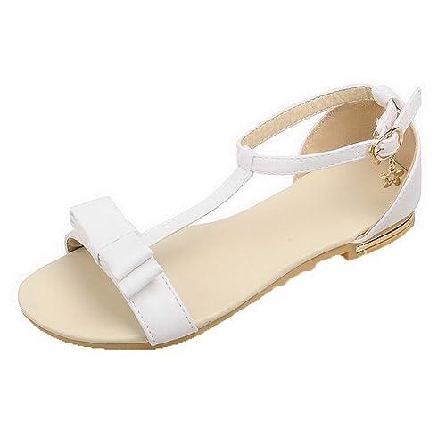 66d978ec16c AalarDom Mujer Puntera Abierta Mini Tacón Pu Sólido Hebilla Sandalias de  vestir  Amazon.es  Zapatos y complementos
