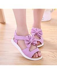 Tenworld Baby Toddler Girls and Little Girls Cut Out Bow Dress Flat Sandals (US Little Kid 11M, Purple)