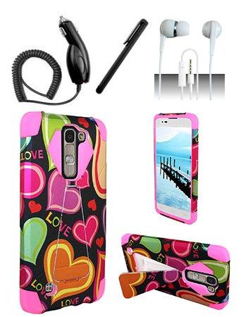 Nokia Lumia 650 [Shoparound168] Pink Love Hearts Hybrid Dual Layer Case w/ Built in Kickstand + Car Charger + Free Stylus Pen + Free 3.5mm (Nokia Lumia 650 Phone)