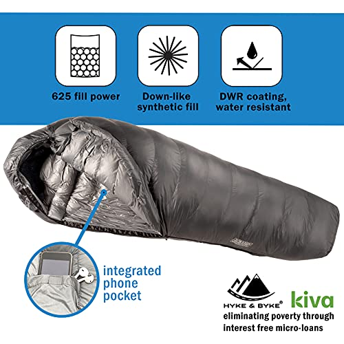 Hyke & Byke Katahdin 15 & 0F 625 Fill Power Hydrophobic Sleeping Bag with Advanced Synthetic - Ultra Lightweight 4 Season Men and Women Mummy Bag Designed for Backpacking