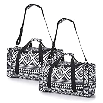 5 Cities Carry On Lightweight Small Hand Luggage Cabin on Flight & Holdalls (2 x Aztec Black/White)