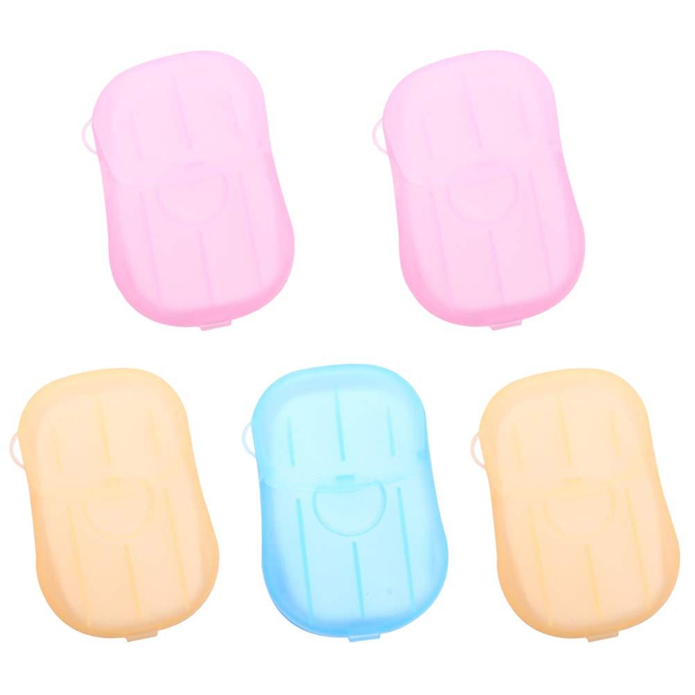 1 * Blu + 2 * Rosa + 2 * Giallo Healifty sapone da viaggio fogli di sapone 5pcs Dispenser di sapone monouso in carta di pulizia Mini Dispenser di sapone portatile con contenitore