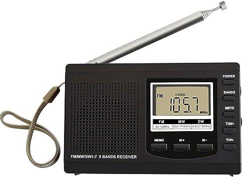 ZYJ Mini Radio FM/Am/SW, frecuencia portátil Onda Corta Multibanda Estéreo Digital Receptor de Radio portátil Auricular Pantalla de Tiempo Reloj Despertador Antena giratoria,Negro: Amazon.es: Electrónica