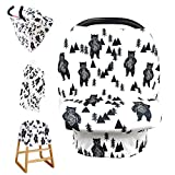 Stretchy Baby Carseat Cover with 4-in-1 Multi-use for Baby Carseat & Nursing/Versatile Breastfeeding Scarf & Stroller & Feeding high Chair Cover for Baby Girls by TIANNUOFA (Ink Bear)
