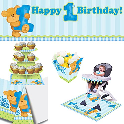 - First Birthday Party Decorating Kit - Bear Blue: Giant Banner Table Cover Treat Box Cupcake Stand High Chair Kit (Mini Flag Banner Bib Mat)