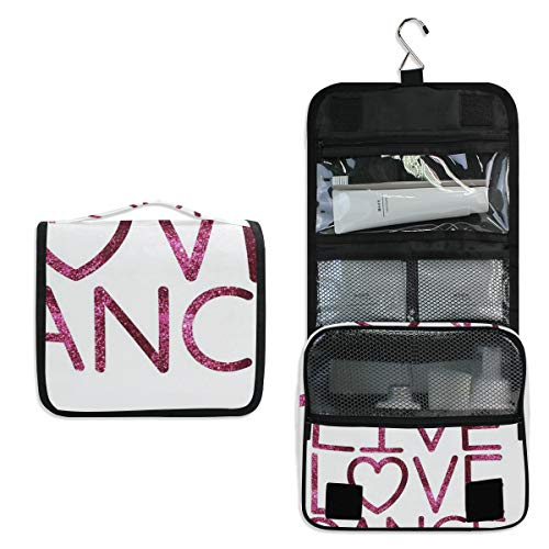 Toiletry Bag Gallery Love Dance Hanging Travel Toiletry Organizer Kit with Hook and Handle Waterproof Makeup Cosmetic Bag for Men or Women