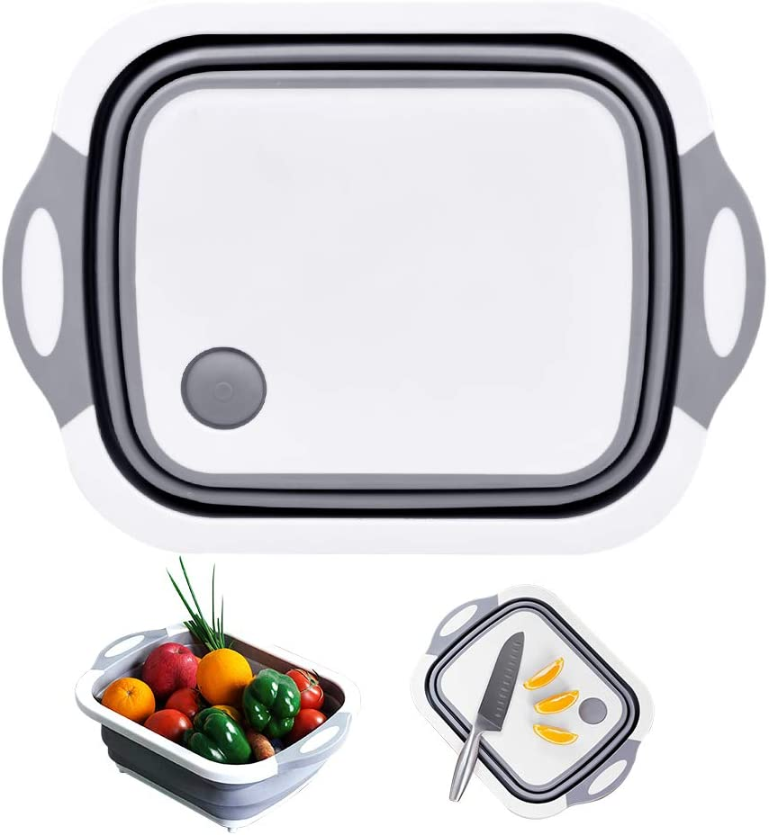 Acelane Collapsible Cutting Board with Colander, Folding Dish Washing Tub, Food Grade Sink Storage Basket for Washing and Draining Foods, Vegetables, Fruits, Salad