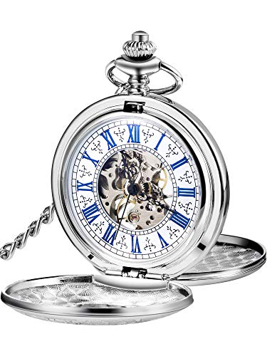 Hicarer Steampunk Blue Roman Dial Double Cover Windup Steel Skeleton Men Mechanical Pocket Watch (Silver) by Hicarer