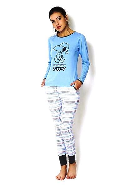 77773722 Pijama Mujer Snoopy Manga Larga Azul Celeste: Amazon.es: Ropa y ...