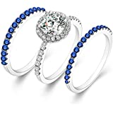 3pcs/Set 925 Silver Ring Women Man White Topaz Sapphire Ring Wedding Size 6-10 (6)