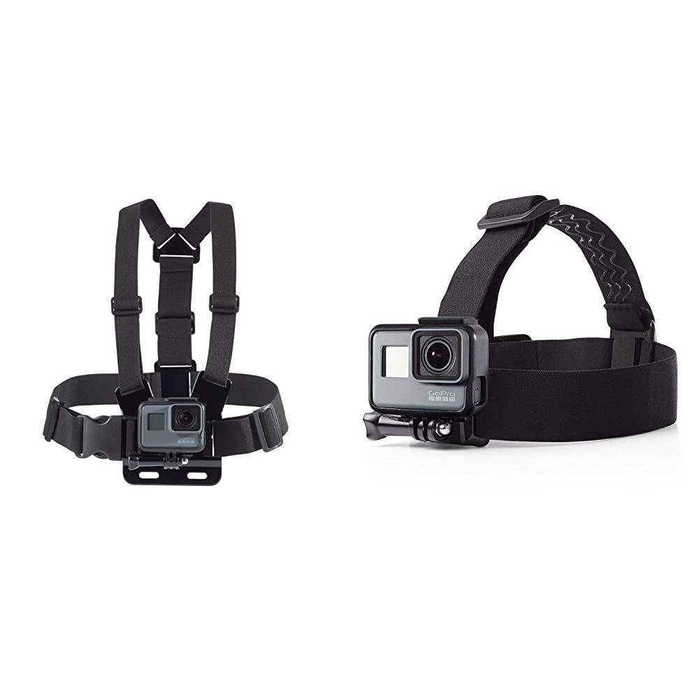 Amazon Basics Chest Mount Harness for GoPro with Amazon Basics Head Strap Camera Mount for GoPro