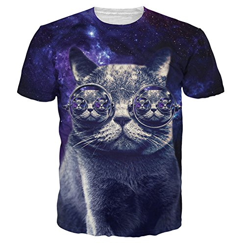 T-shirt Animal 3D Print Hipster Cat punk glasses In Dark Purple Galaxy Funny (M)