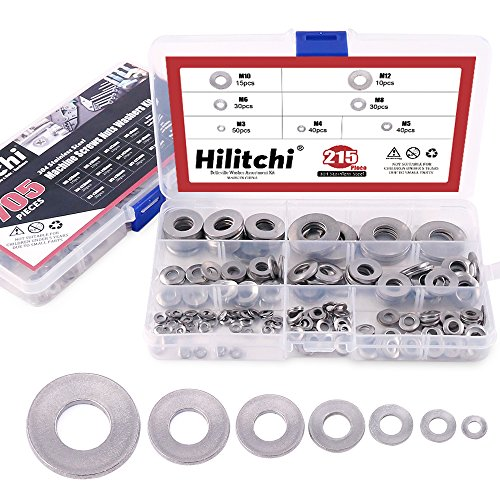 (Hilitchi 215-Pcs [M3 - M12] Metric 304 Stainless Steel Belleville Spring Washer Assortment Set)