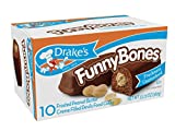 Drake's Funny Bones, Case of 12! Frosted Peanut Butter Creme Filled Devils Food Cakes. 10 Ct by Drake's