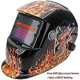 Z ZTDM Welding Helmet Pro Solar Auto Darkening Flame Sexy Mask,Adjustable Shade Range DIN 9-13/Grind DIN 4,Welder Protective Gear ARC MIG TIG,2pcs Extra Lens+CR2032 Battery Gift,CE EN379 ANSI Z87.1