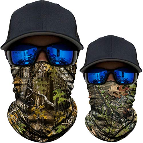 AXBXCX 2 Pack - Camouflage Print Seamless Neck Gaiter Bandana Face Mask Headband Headwear Scarf for Fishing Hiking Hunting Cycling Motorcycle Riding Skiing Outdoor Sport 05166