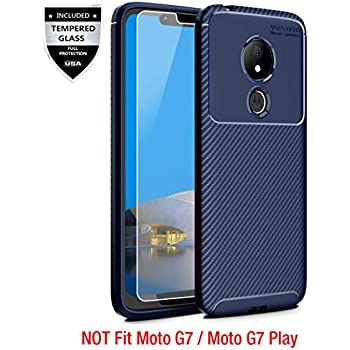 Moto G7 Power Case, Moto G7 Supra Case with [9H Tempered Glass Screen Protector], Sunnyw Flexible Soft Non-Slip Shock Absorption Scratch Resistant ...