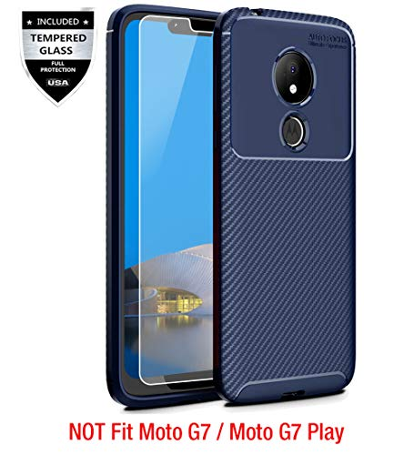 Moto G7 Power Case with [9H Tempered Glass Screen Protector], Sunnyw Flexible Soft Non-Slip Shock Absorption Carbon Fiber Scratch Resistant Rugged Armor Cover for Motorola Moto G7 Power (Blue)