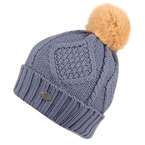 Women's Thick Cable Knit Beanie Hat with Soft Faux Fur Pom...