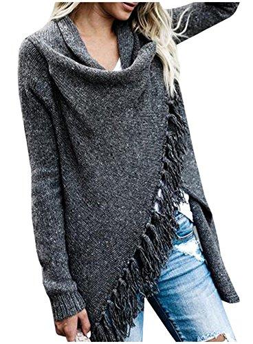 Multi Stripe Wrap Sweater (Kumer Women Speckled Fringe Cardigan Fall Knited Tassels Sweater Aztec Stripes Shawl Loose Slash Sweater Poncho)
