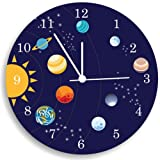 Kid'O Design Studio The Solar System Wall Clock, Kids Bedroom Wall Clock, Space Room Decor