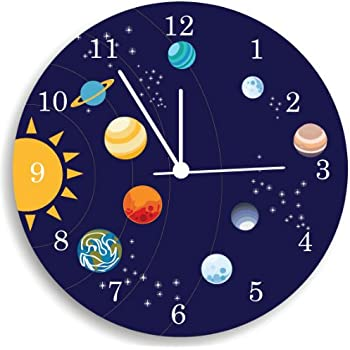The Solar System Wall Clock Kids Bedroom Wall Clock Space Room Decor Home Kitchen