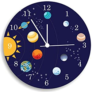 The Solar System Wall Clock Kids Bedroom Wall Clock Space Room Decor
